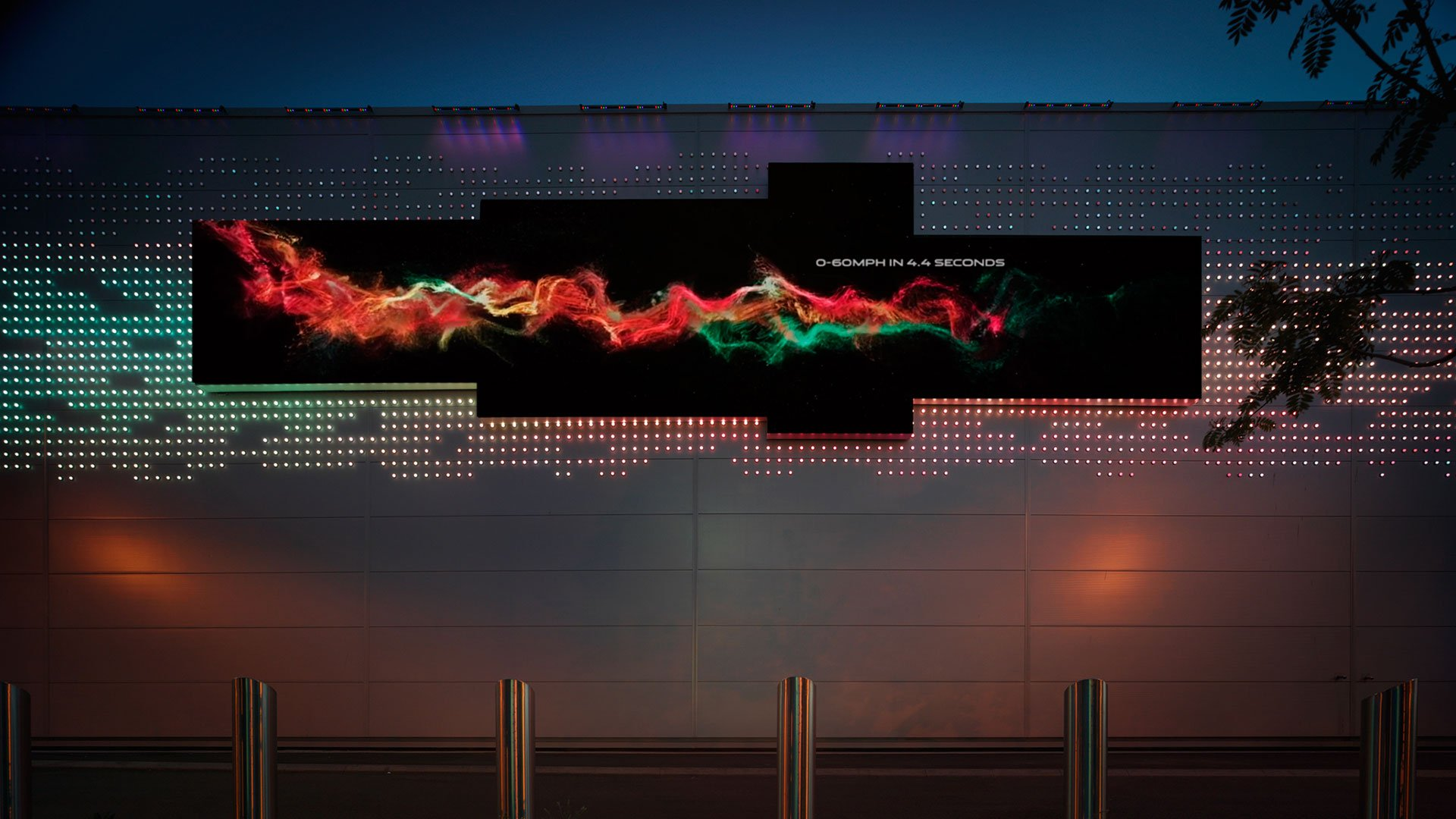 Jaguar Land Rover Factory Birmingham Outdoor Dynamic Media Wall Created by ADI from Modular LED Screens