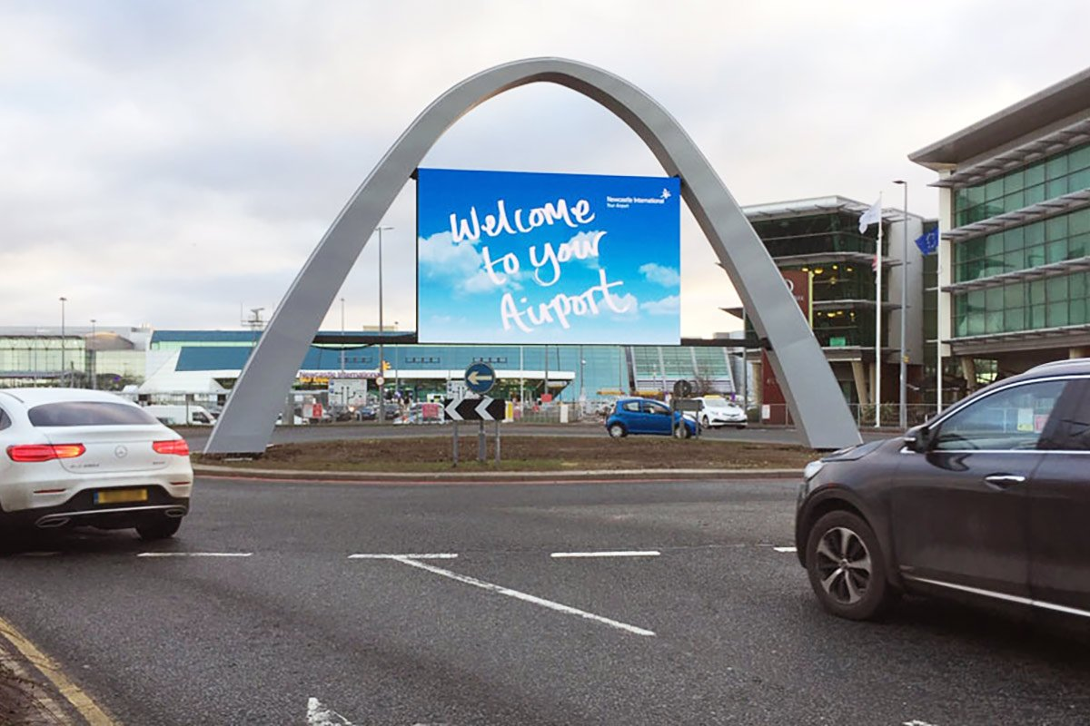 Newcastle Airport Welcome Digital Display Screen installation on roundabout
